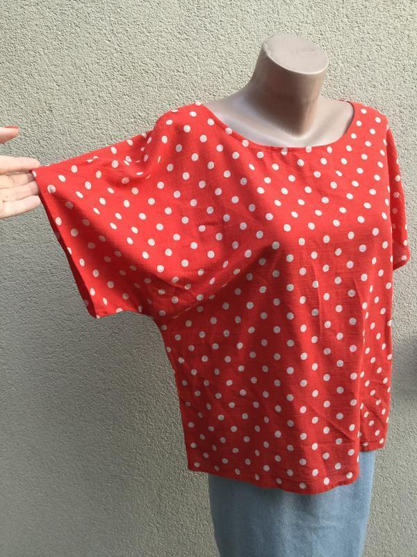 Красная блуза в горохи,рубаха реглан,этно,бохо стиль,