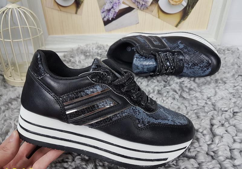 Новые женские черные кроссовки - Фото 4