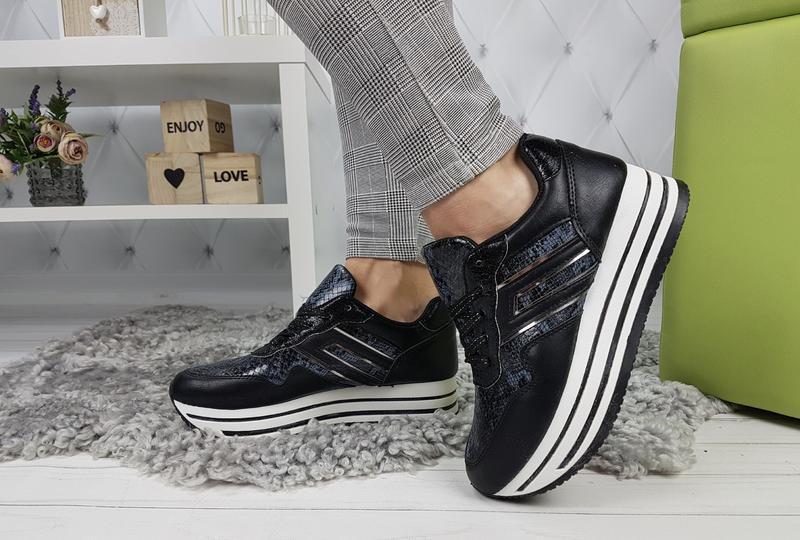 Новые женские черные кроссовки - Фото 5