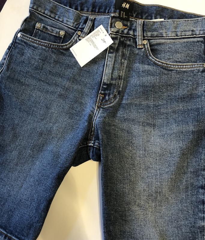 Синие джинсовые шорты h&m , slim fit ! - Фото 5