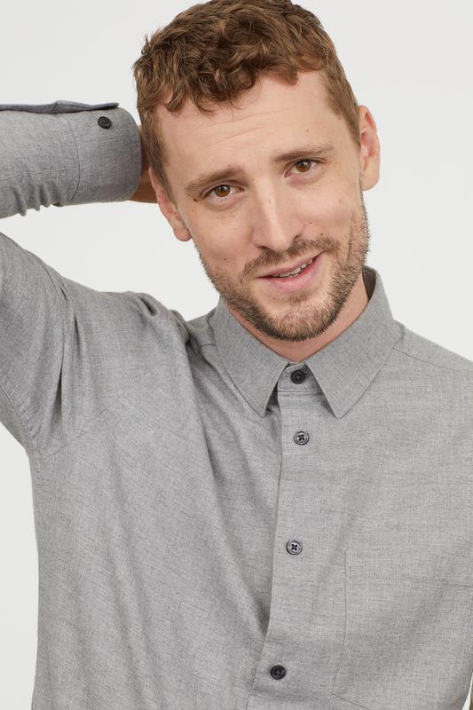 Серая фланелевая рубашка h&m premium quality ! regular fit