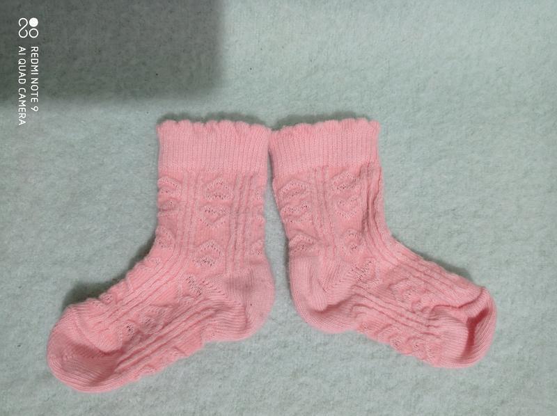 Красивый персикового цвета хлопковые носочки с сердечками