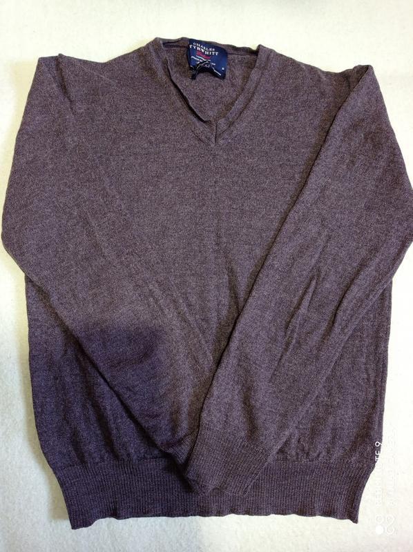 Итальянский базовый серый пуловер с супер шерсти мериносовой  ...