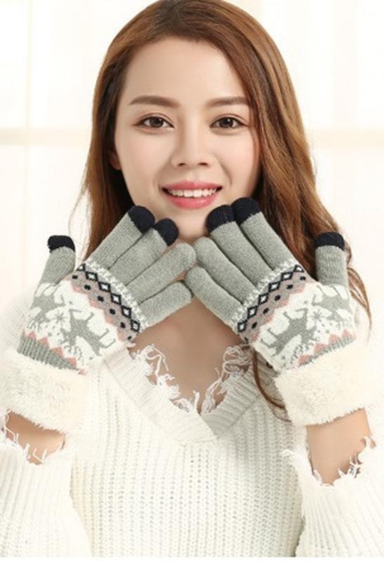 7-53 теплые перчатки touch screen с оленями рукавички - Фото 2