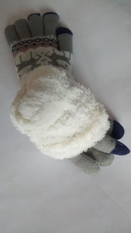 7-53 теплые перчатки touch screen с оленями рукавички - Фото 3