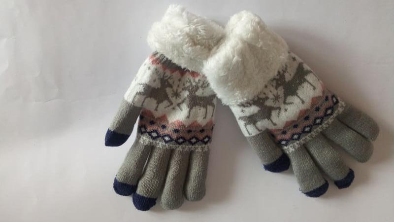 7-53 теплые перчатки touch screen с оленями рукавички - Фото 4