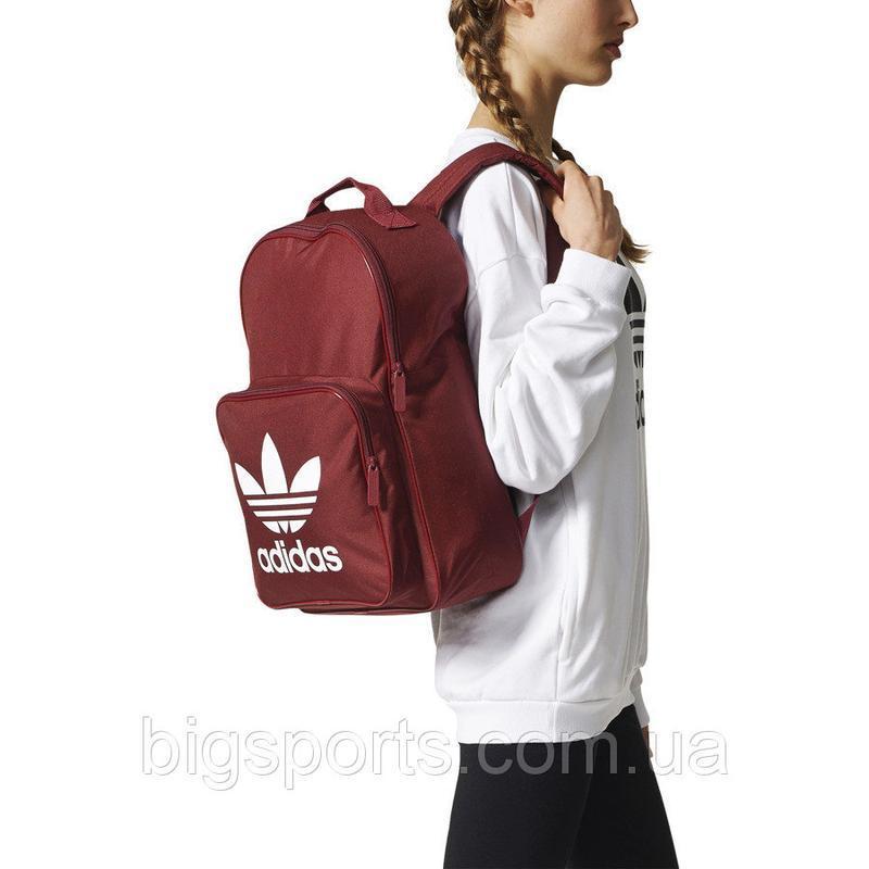 Топовый бордовый вместительный рюкзак adidas bp clas trefoil