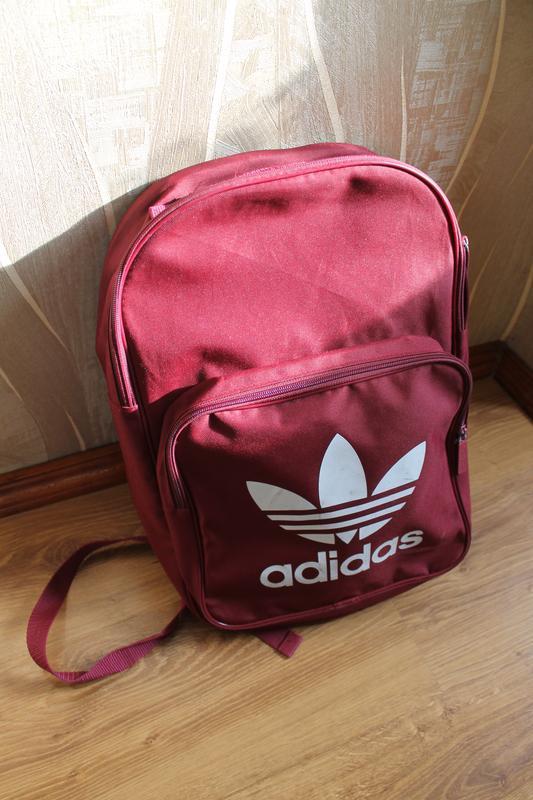 Топовый бордовый вместительный рюкзак adidas bp clas trefoil - Фото 4