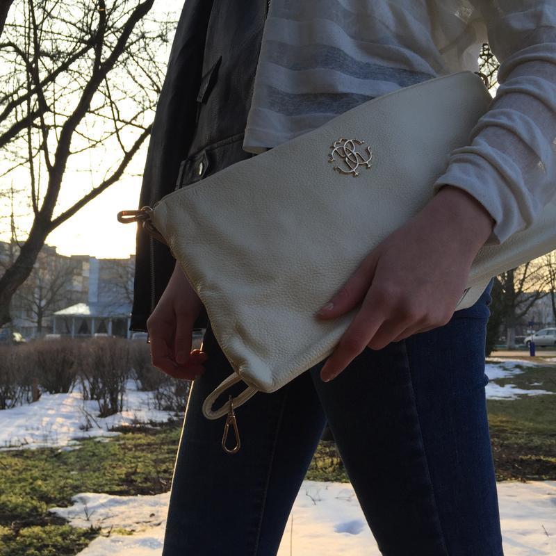 Кожаный maxi клатч, молочный цвет, сумочки из натуральной кожи...