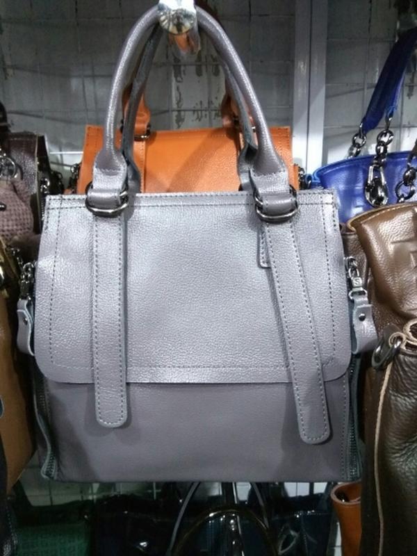 Сумка из натуральной кожи серая, женские кожаные сумки с длинн...