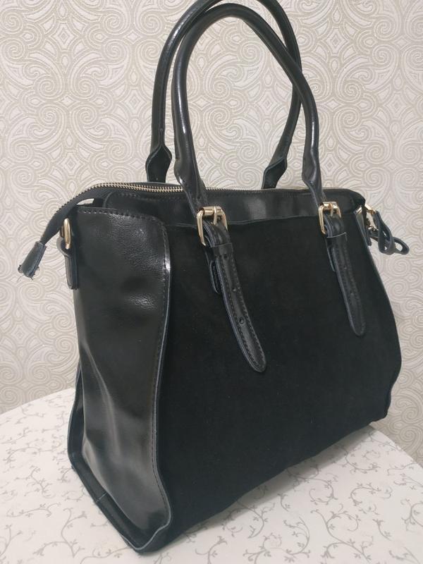 Кожаная замшевая сумка, натуральная замша и кожа, коллекция ос...