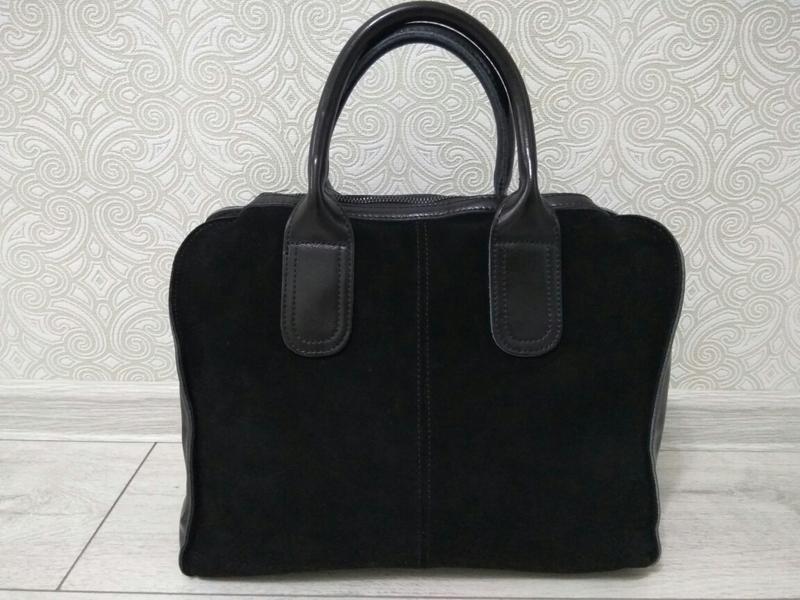 Замшевая кожаная сумка черная натуральная замша и кожа, осень ...