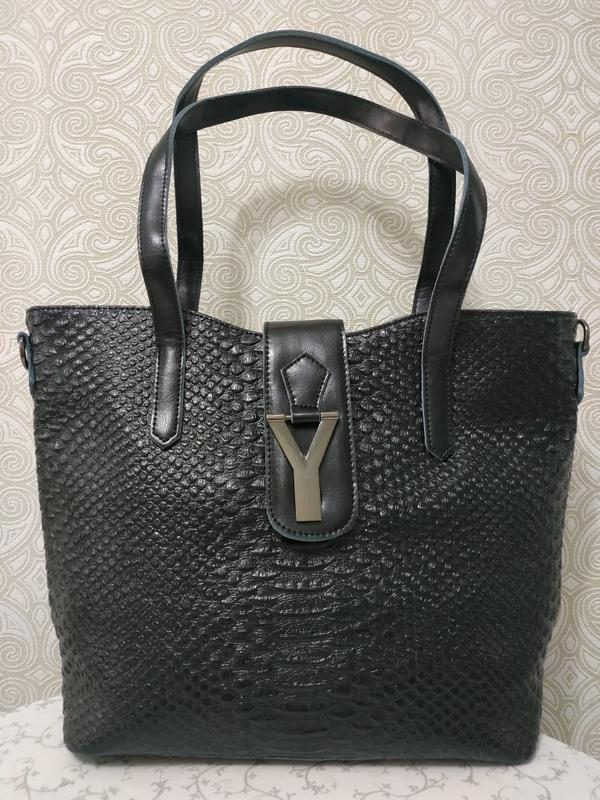 Кожаная женская сумка черная рептилия 2018 2019, натуральной кожи