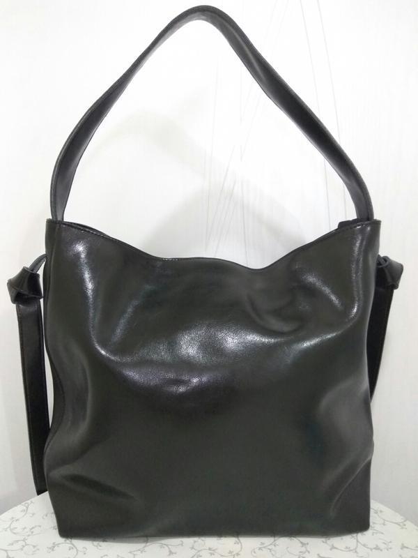 Кожаная большая сумка шоппер 2019 черные сумки из натуральной ...
