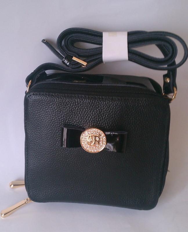 Кожаная небольшая сумочка кроссбоди черного цвета - Фото 3