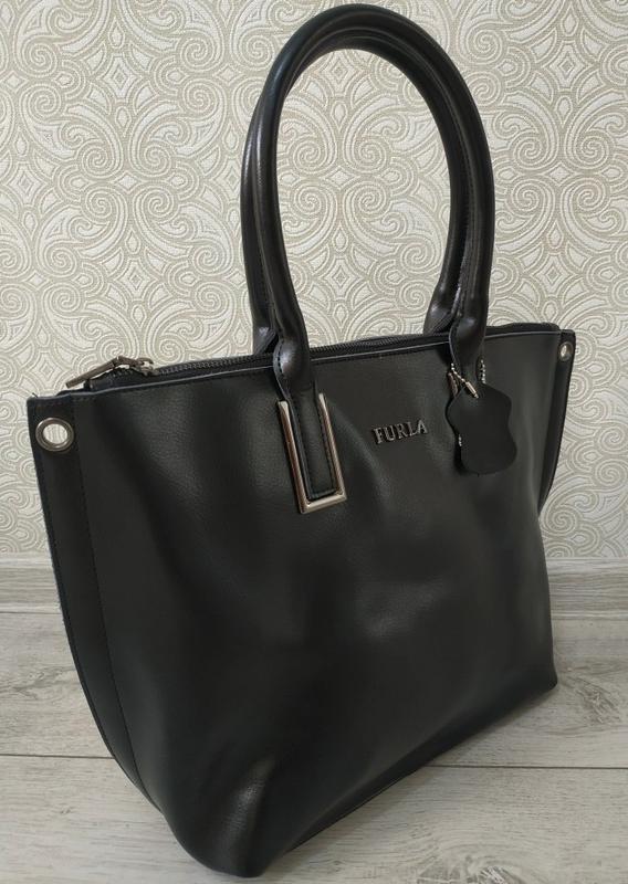 Кожаная черная большая женская сумка шоппер 2019 ремень через ... - Фото 2