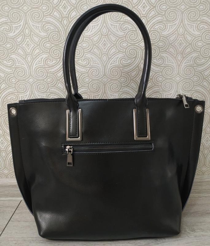Кожаная черная большая женская сумка шоппер 2019 ремень через ... - Фото 3