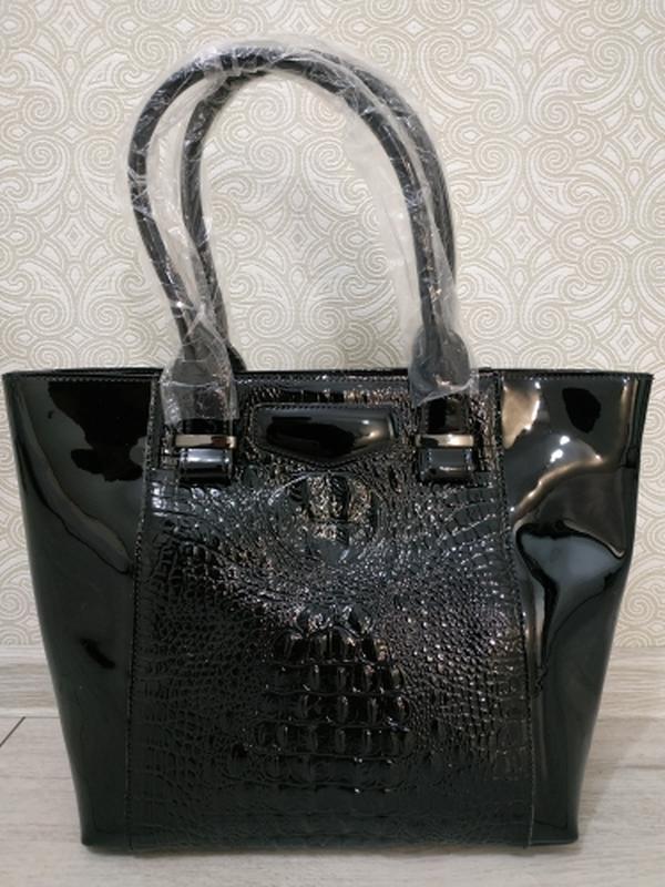 Кожаная черная большая женская сумка шоппер 2019 крокодил ручк...