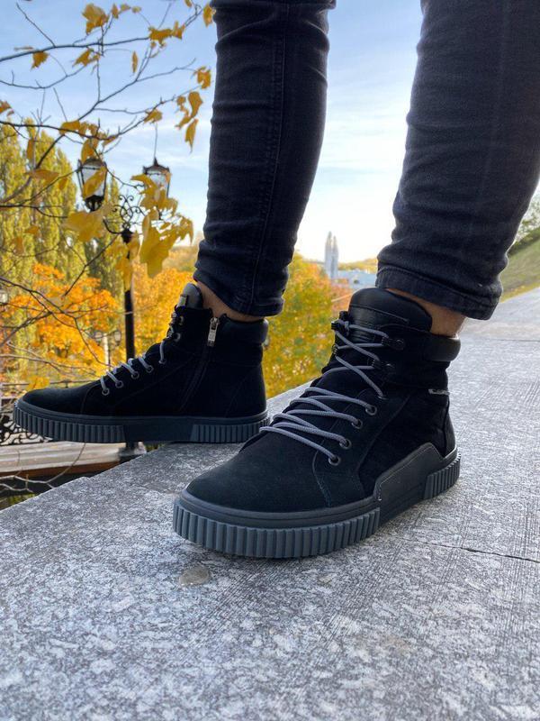 Мужские черные зимние ботинки из нубука, на шнурках и с замком