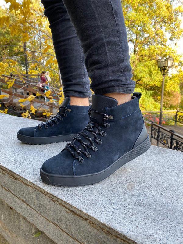 Мужские синие зимние ботинки из нубука, на шнурках