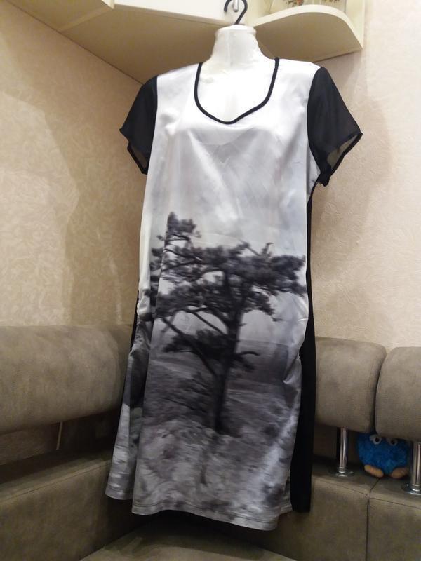 Прямое платье принт дерево--вискоза - распродажа - Фото 6