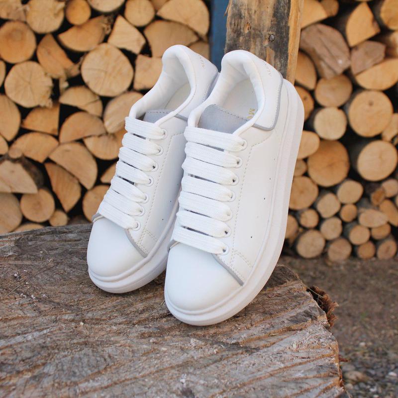 Шикарные кроссовки alexander mcqueen white (весна/ лето/ осень) - Фото 3