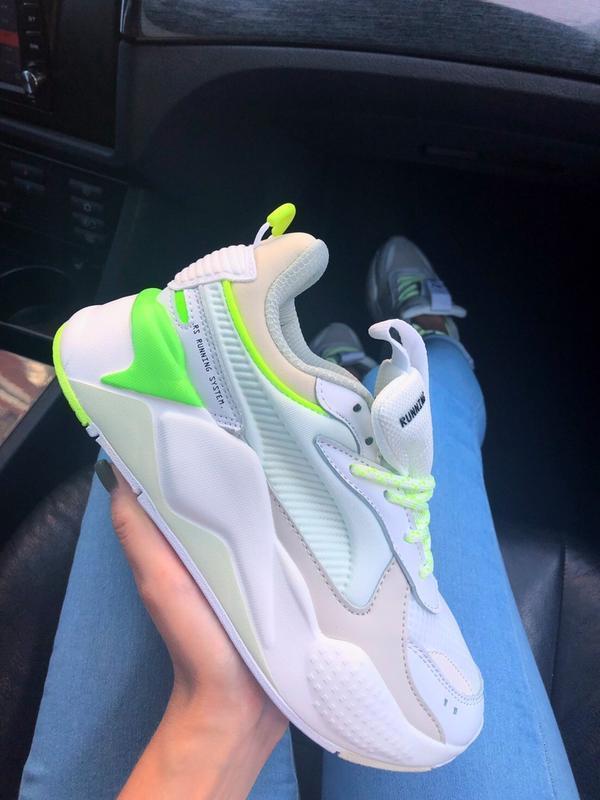 Кроссовки женские rs-x white&neon green (осень)