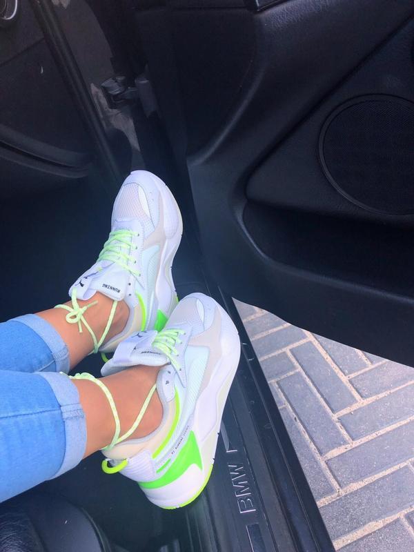 Кроссовки женские rs-x white&neon green (осень) - Фото 4