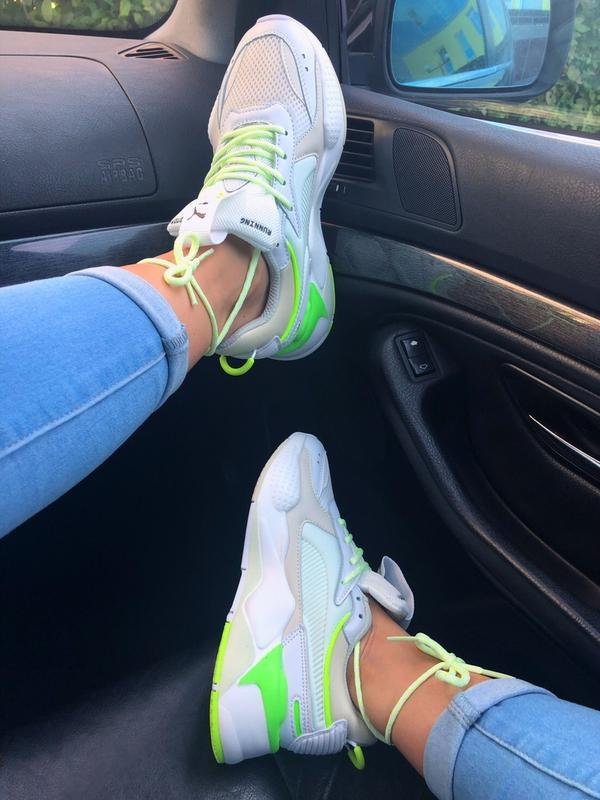 Кроссовки женские rs-x white&neon green (осень) - Фото 6