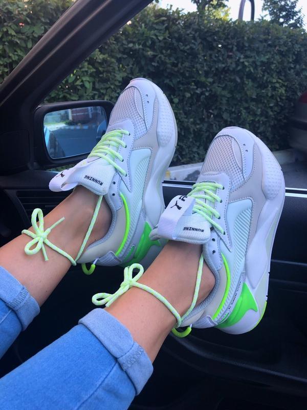 Кроссовки женские rs-x white&neon green (осень) - Фото 7