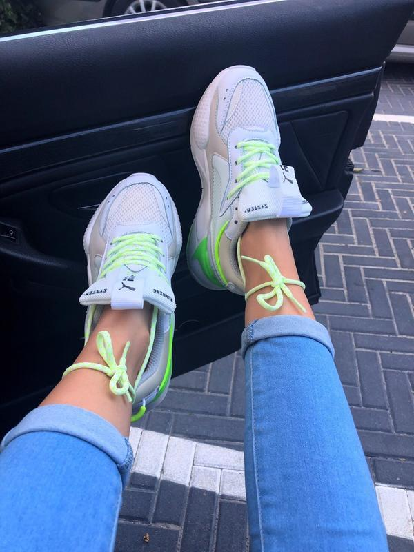 Кроссовки женские rs-x white&neon green (осень) - Фото 9