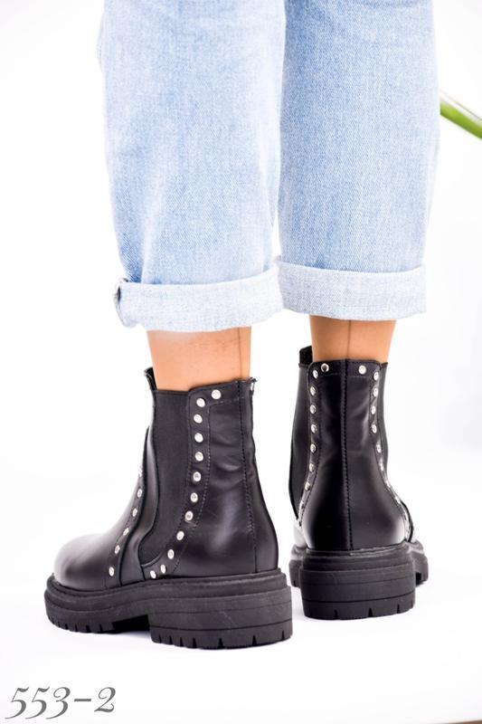 Женские кожаные ботинки на резинке - Фото 4