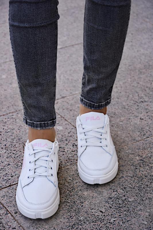 Кожаные белые кеды женские - Фото 2