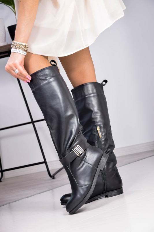 Кожаные женские сапоги европейка