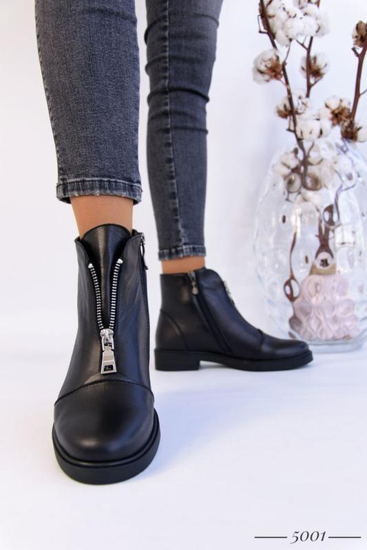 Кожаные женские ботинки с замочком - Фото 3