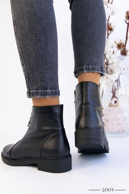 Кожаные женские ботинки с замочком - Фото 5