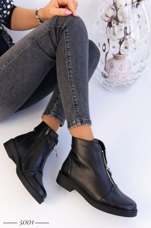 Кожаные женские ботинки с замочком - Фото 6