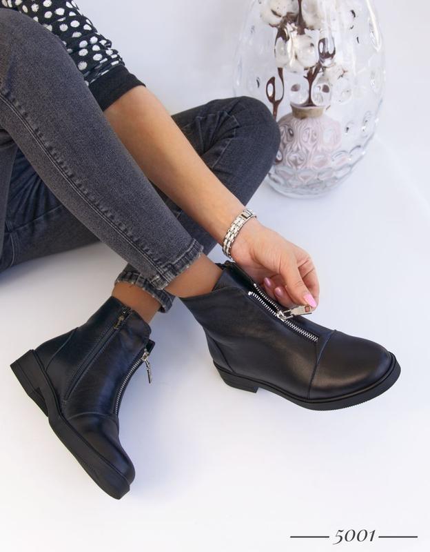 Кожаные женские ботинки с замочком - Фото 7
