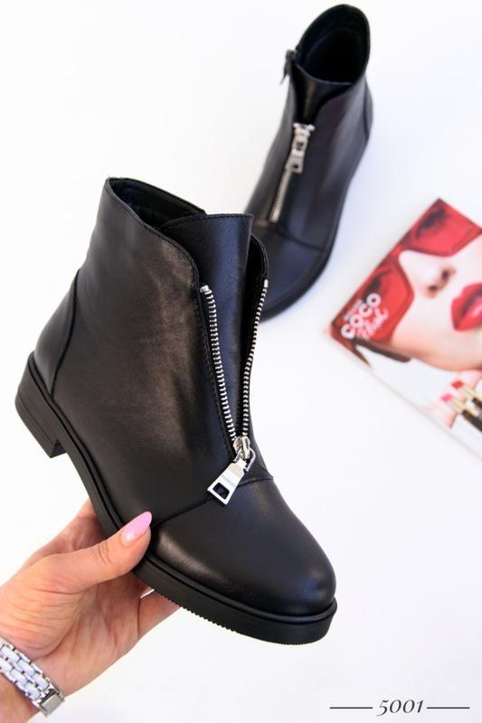 Кожаные женские ботинки с замочком - Фото 8