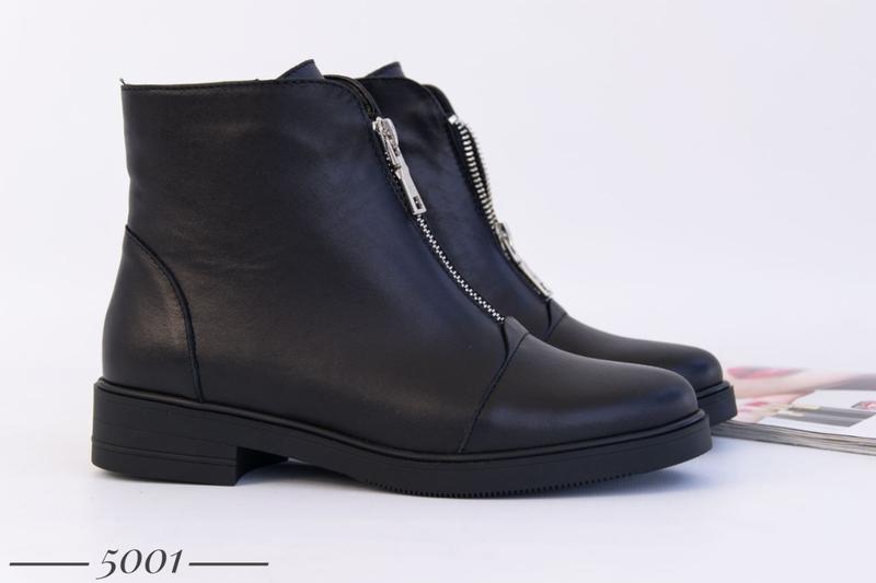 Кожаные женские ботинки с замочком - Фото 9