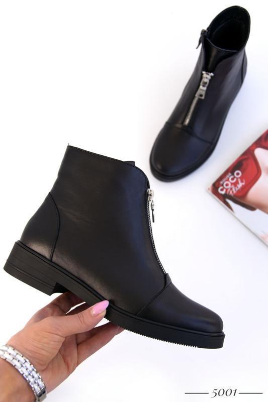 Кожаные женские ботинки с замочком - Фото 10