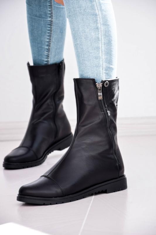 Женские кожаные ботинки чёрного цвета - Фото 4