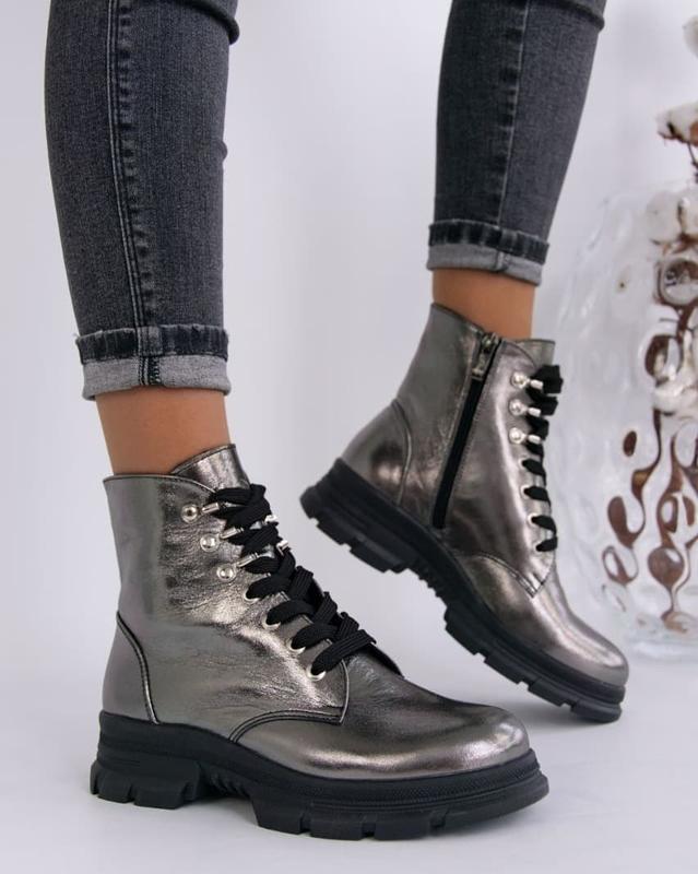 Женские ботинки, кожа никель.