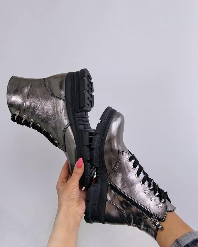 Женские ботинки, кожа никель. - Фото 2
