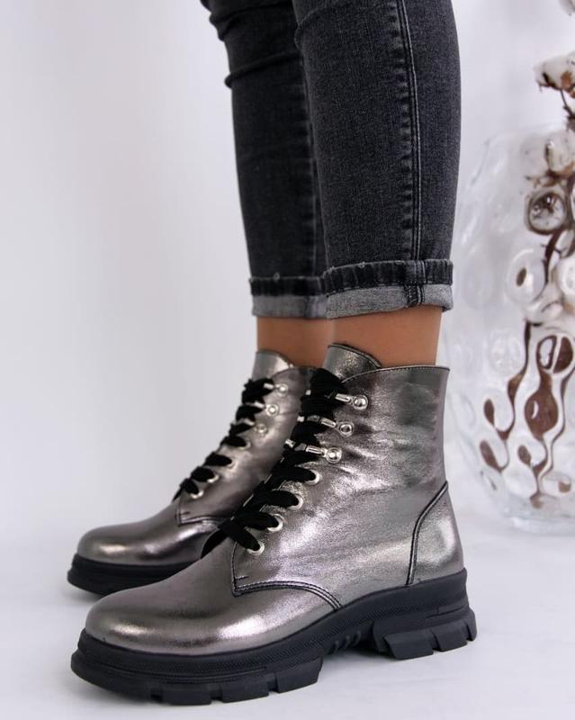 Женские ботинки, кожа никель. - Фото 3