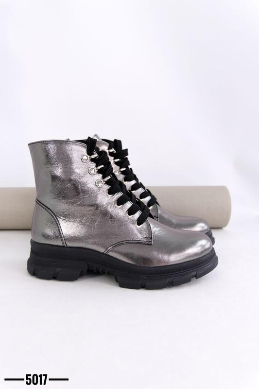 Женские ботинки, кожа никель. - Фото 4