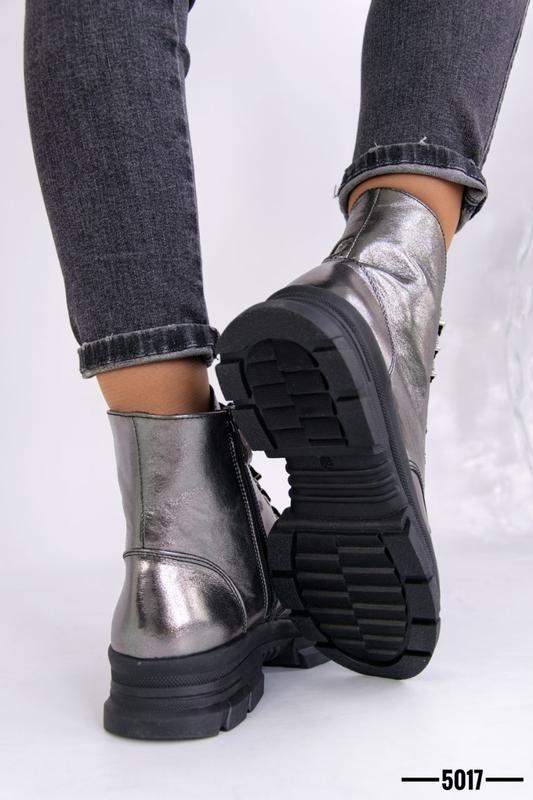 Женские ботинки, кожа никель. - Фото 5