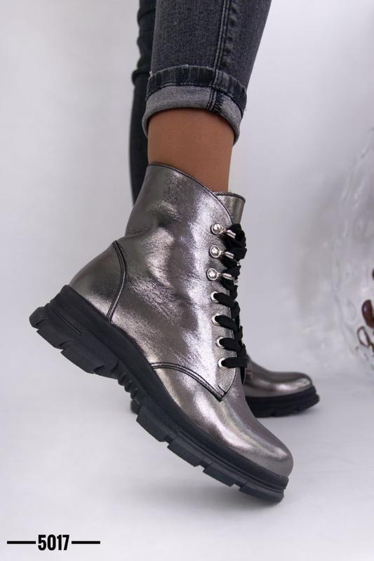 Женские ботинки, кожа никель. - Фото 6