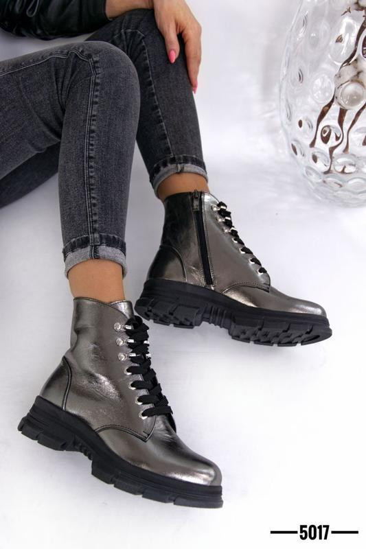 Женские ботинки, кожа никель. - Фото 7