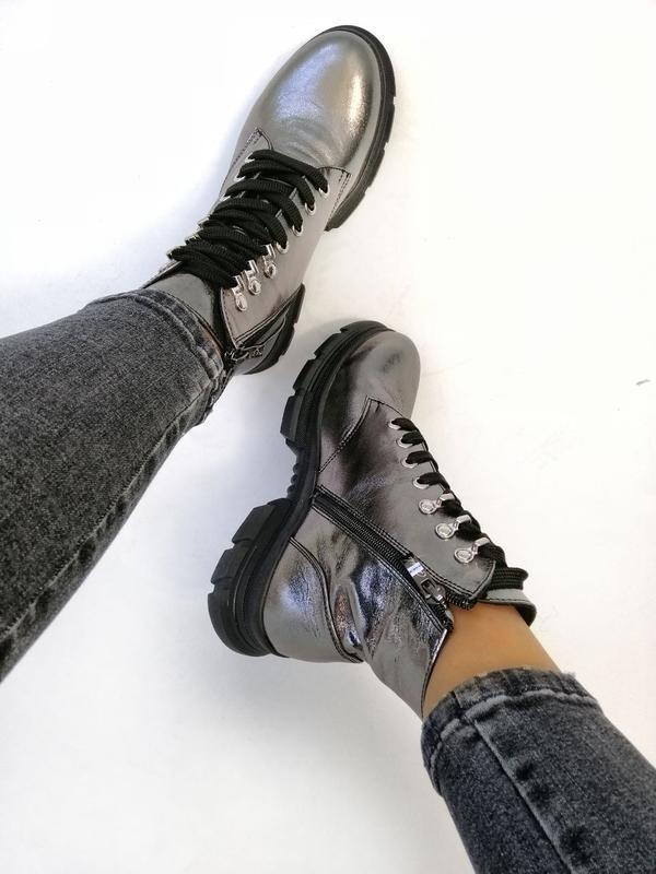 Женские ботинки, кожа никель. - Фото 8